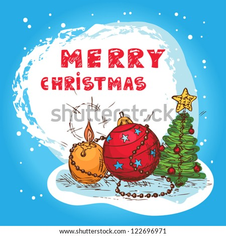 Christmas Illustration With Christmas Tree and Balls - New Year Postcard In Retro style With Text  - Vector. - stock vector