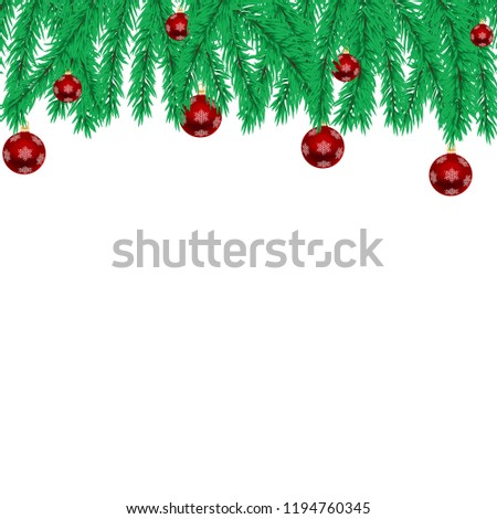 Christmas illustration with christmas tree twigs and red ball. Vector background. #1194760345