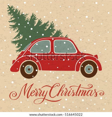 Christmas illustration with christmas tree, vintage car and snow, Merry Christmas, hand written lettering. Background for christmas greeting card, invitation. #516645022