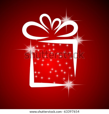 Christmas illustration with gift box on red background. EPS10