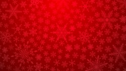 Christmas illustration with various small snowflakes on gradient background in red colors