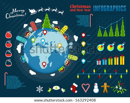 christmas infographics vector