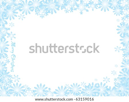 Christmas inspired snow flake background with blue ice frame