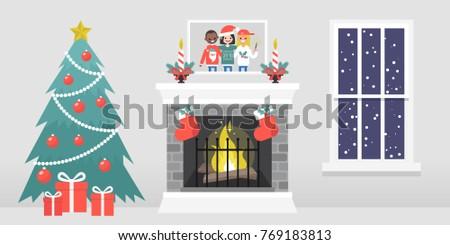 christmas interior decorated