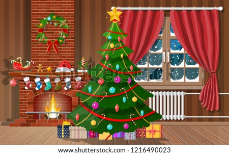 christmas interior of room with