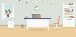 Christmas interior of working place in the office on the light blue background.Xmas atmosphere:garland of light bulbs, Christmas tree.Furniture: table, chair, cabinet with folders and books.Vector
