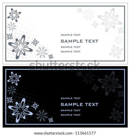 Christmas invitation Artificial christmas invitation cards designed in black, white and blue - horizontal exposure