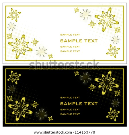 Christmas invitation Artificial christmas invitation cards designed in black, white and gold - horizontal exposure