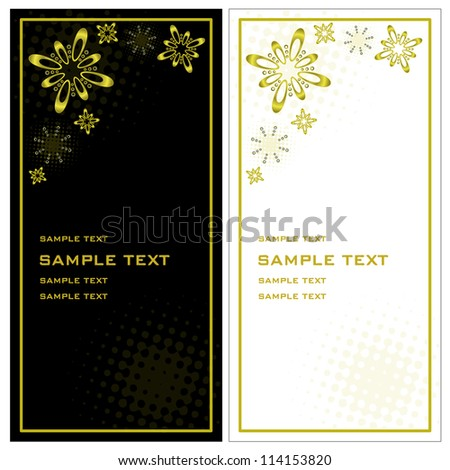 Christmas invitation Artificial christmas invitation cards designed in black, white and gold - vertical exposure
