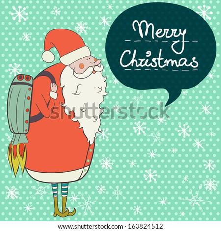 Santa Belt Vector Cartoon santa claus flying