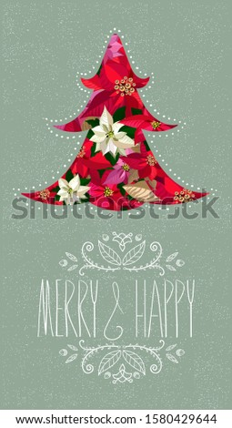 Christmas invitation with a bouquet of the red, pink and white poinsettias, Christmass tree. Vector background.