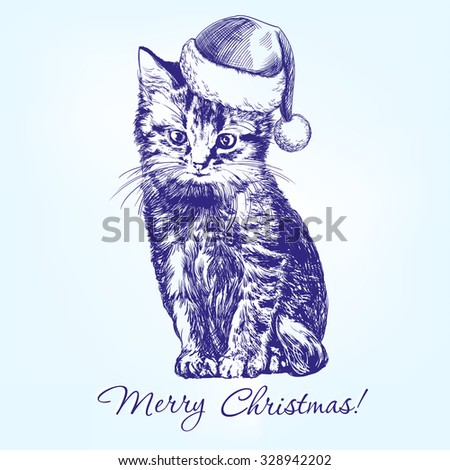 christmas kitten in santa