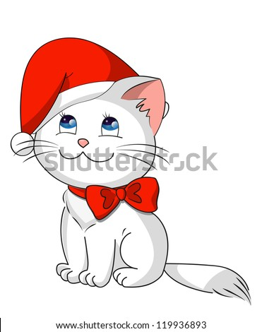 christmas kitty with red santa