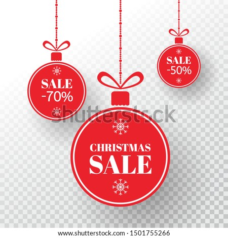 Christmas label. Red xmas balls with sign sale, special offer. Merry Christmas and New Year balls sale. Holiday design elements on transparent background. Vector illustration.