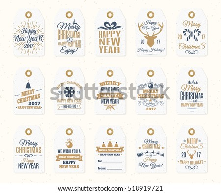 christmas label set elements vector gold color with santa and deer christmas ball snowflake classy 2019 happy new year