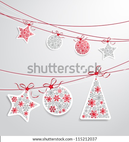 Christmas label set with ribbons
