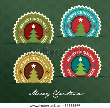 Christmas label with Christmas Tree shape