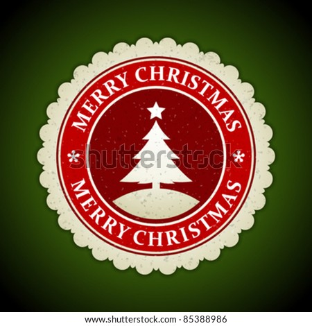 Christmas label with snowflake shape vector illustration Eps 10. - stock vector