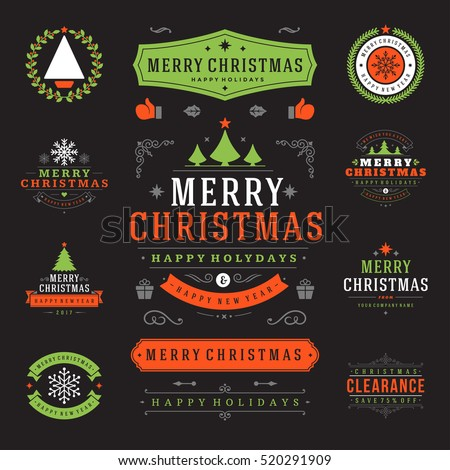 christmas labels and badges