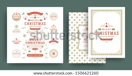 Christmas labels and badges vector design elements set with greeting card template. Merry christmas and happy new year wishes vintage typography and symbols objects with ornaments.