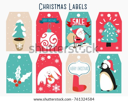 Cute Christmas Label Set Download Free Vector Art Stock Graphics