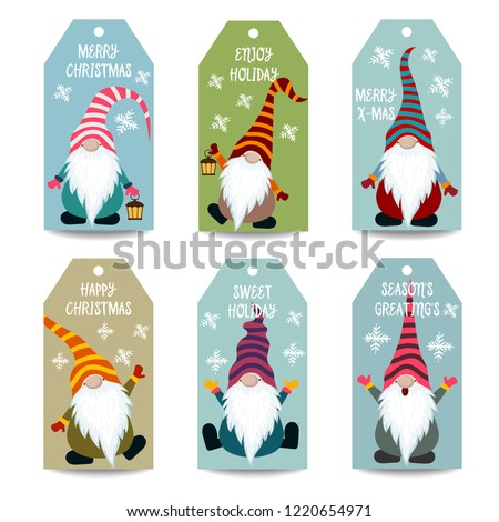 Christmas labels collection with gnomes, isolated items on white background, eps10