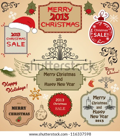 Christmas labels, decorative elements, borders, frames and tree