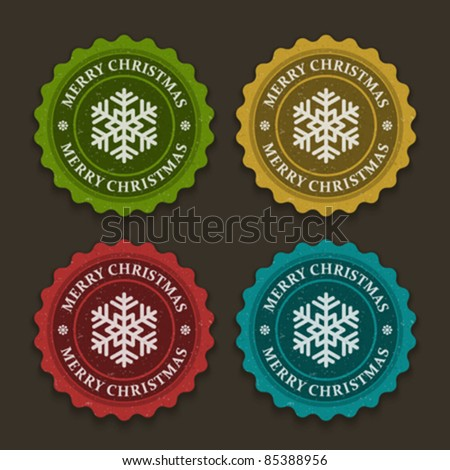 Christmas labels set with snowflake shape vector illustration Eps 10.