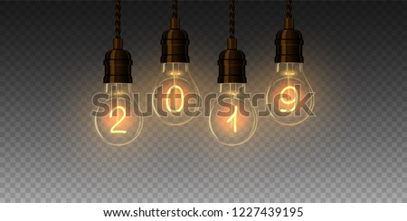 Christmas lamp light bulbs Illuminated new year 2019. Vector