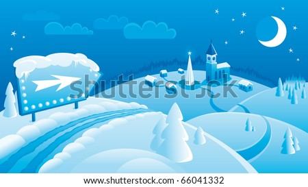 Christmas landscape background with road sign, christmas tree, town, church, hills, moon and clouds