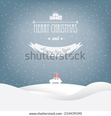 christmas landscape card design