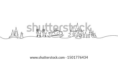 Christmas landscape continuous one line vector drawing. Santa in sleigh with deers, trees, snowdrifts, snowman hand drawn silhouette. Winter nature panoramic sketch. New Year contour illustration