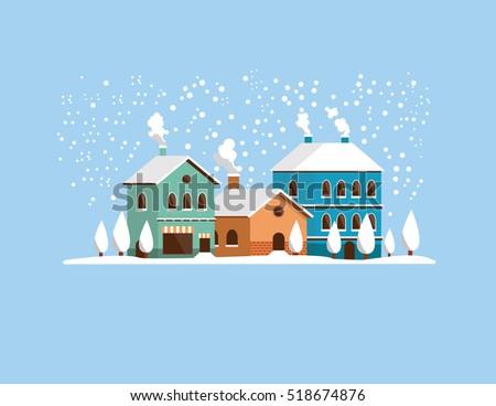 christmas landscape flat vector