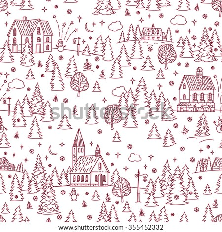 Christmas Landscape Seamless Background  #355452332
