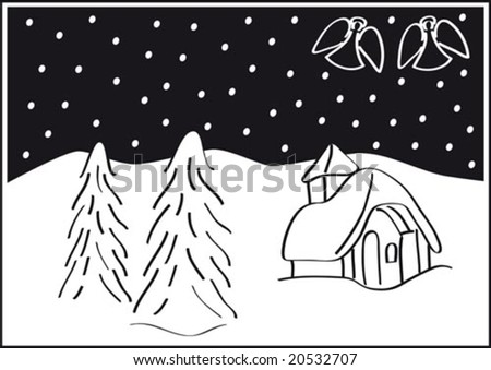 Christmas landscape, trees, snow, angels, and a tiny church. Black and white  vector illustration.