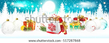 Christmas. Landscape with Christmas boxes and balls. Christmas night background.