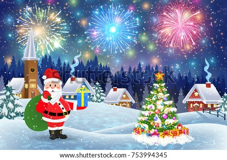Christmas landscape with christmas tree and Santa Claus with gift bag. fireworks in the sky. concept for greeting or postal card, vector illustration