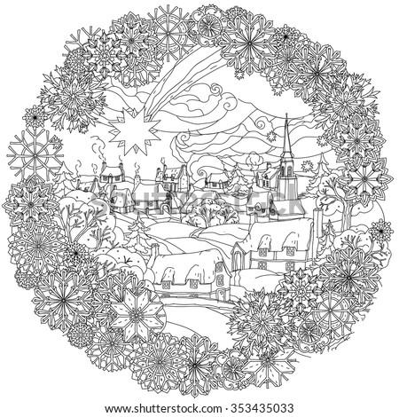 christmas landskape with star