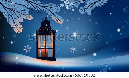 Christmas lantern with snowfall in the night background - Shutterstock ID 686910532
