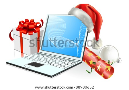 Christmas laptop computer with Santa hat, gift cracker and bauble