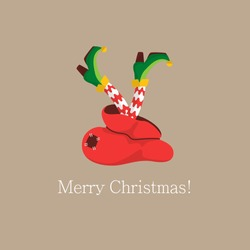Christmas legs of the elf. Shoes for the feet of elves, the leg of the gnome's helpers of Santa Claus in a set of pants. Shoes, funny striped socks and boots. Vector illustration