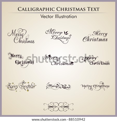Christmas lettering by nine styles of a writing on a simple background.