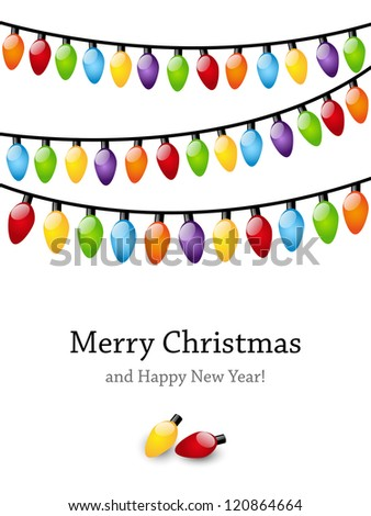 Christmas light bulbs background with place for text