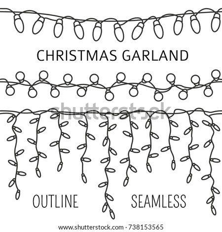 Christmas light garlands set. Outline isolated design seamless pattern. New year winter collection. Vector illustration