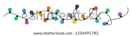 Christmas lights bulbs. Colorful christmas lights bulbs isolated on white background. Color garlands. Lights bulbs in simple trendy flat design. Christmas illustrtation. Vector illustrtation