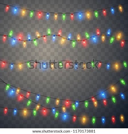 Christmas lights. Colorful bright Xmas garland. Vector red, yellow, blue and green glow light bulbs on wire strings isolated.