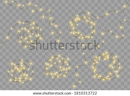 Christmas lights garlands. Festive design elements. Celebrate realistic object. Holiday Xmas Decor drip dew led lamp. New Year light effects isolated. Vector illustration.