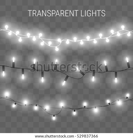 Christmas lights. Glowing garland on transparent background. Shiny lights