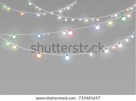 Christmas lights isolated on transparent background. Xmas glowing garland. Vector illustration - Shutterstock ID 733485697