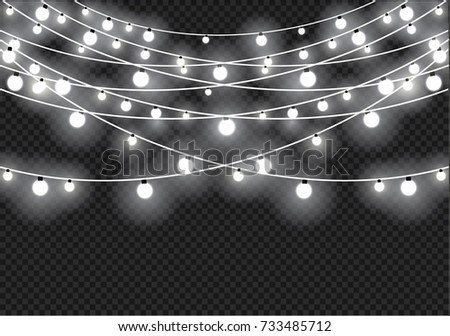 Christmas Lights Isolated On Transparent Background Xmas Glowing Garland Vector Illustration